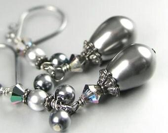 Gray Pearl Earrings Sterling Silver Gunmetal Earrings Gray Swarovski Crystal Pearl Earrings Black and Grey Dangle Earrings