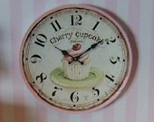 "DOLLHOUSE MINIATURE - Only 1.25"" Inch - Cupcake Wall Clock"