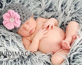 Newborn Baby Beanie Hat Grey Pink Flower