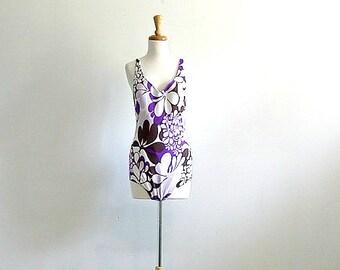Vintage 70s Swimsuit - 1970s swimwear - maillot - one piece swimsuit - purple swimsuit - bathing suit - womens swimsuit  - medium