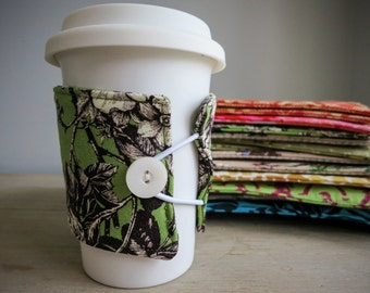 SALE Cup Cozy, Coffee Cup Sleeve, Choice of Designer Fabric Patterns, Reusable Eco Friendly Stylish Coffee Accessory Gift for Teacher