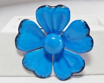 Blue Enameled Daisy Brooch Apparel & Accessories Jewelry Vintage Jewelry Brooch