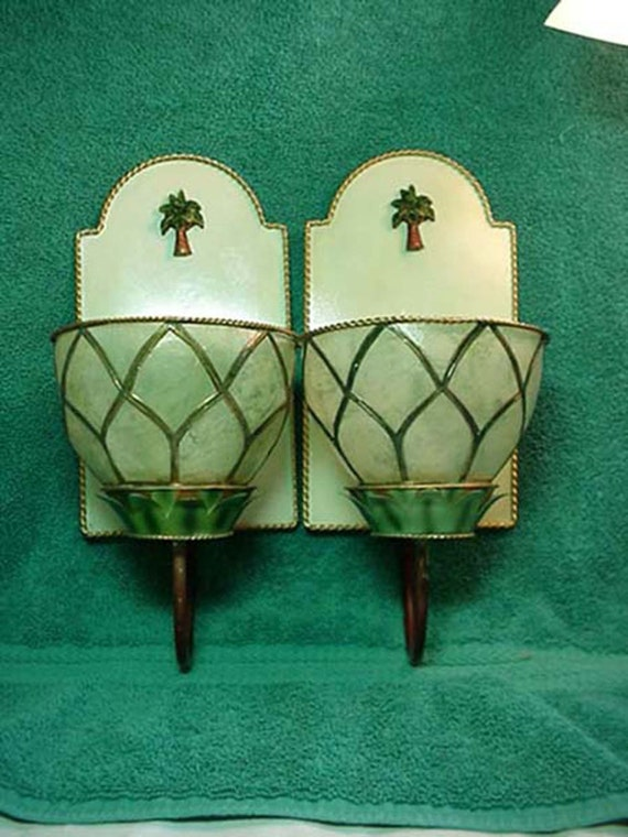 Pair of Light Mint Green Candle Sconces made of Shell and Brass 1940s