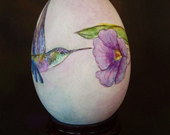 Hummingbird, Flower, Saying, Hand Painted Goose Egg Shell- By SYT