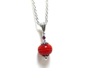 Orange & Purple Necklace, Clemson Pendant, Best Friend Necklace, Silver Lace Rope Chain, Orange Stripes, Amethyst Crystal,  Two Left!