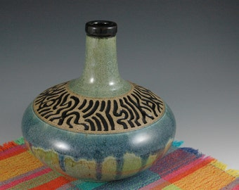 Blue Green Ceramic Decorative Art Vessel Bottle with carving.