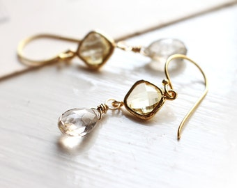 Golden Rutilated Quartz Gold Earrings - Golden Dreams, Delicate Gold Dangle Earrings with Connector
