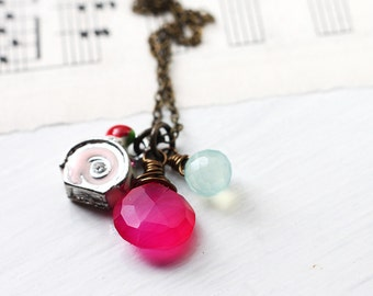 Charm Necklace - Pink Swiss Cake Roll Pewter Charm with Hot Pink Magenta and Pastel Blue Chalcedony on Antique Brass Necklace