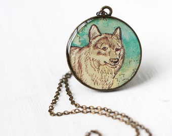 Wolf Art Pendant Necklace Vintage Art, Round Pendant, Teal Green and Cream Color Wild Animal Canine
