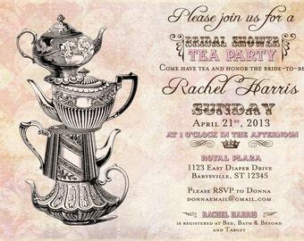 Vintage Tea Party Bridal Shower Invitation - Vintage - FREE SHIPPING or DIY Printable