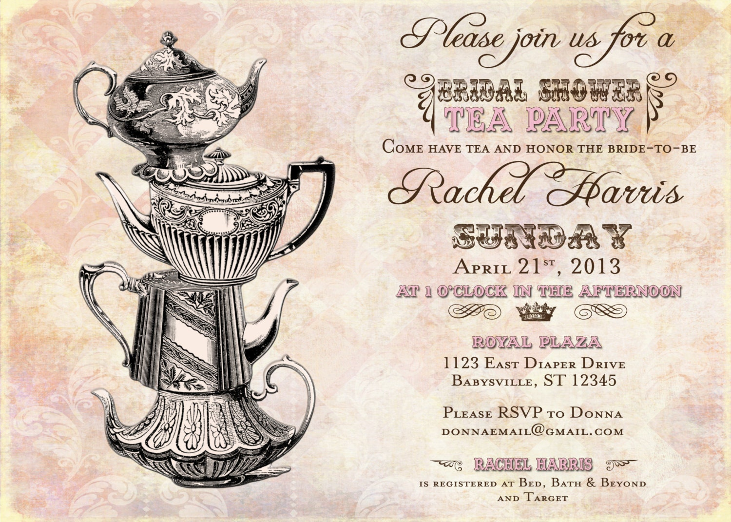 Vintage Tea Party Bridal Shower Invitation Vintage DIY