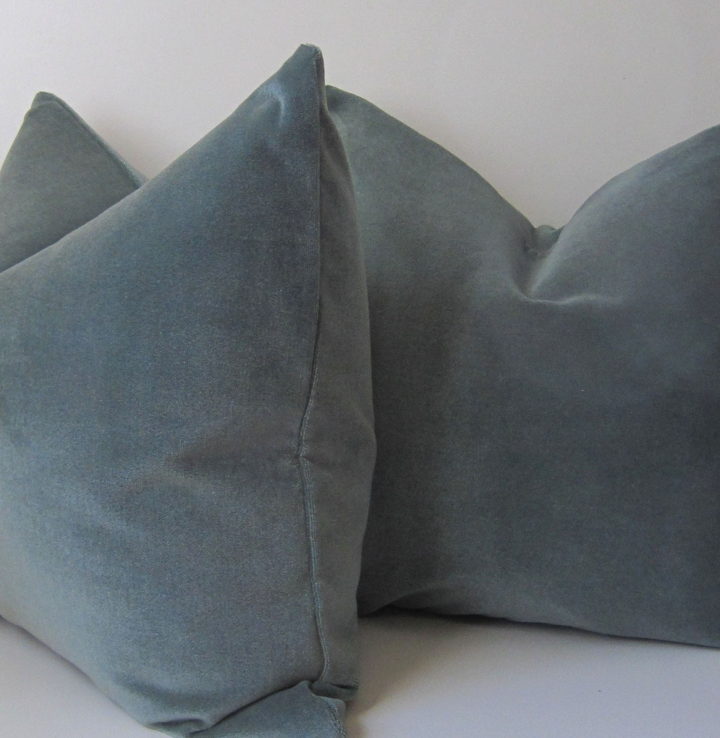 Blue Velvet Throw Pillows : Set of Two Ocean Blue Velvet Pillows Decorative Pillow
