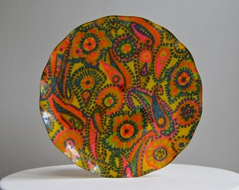 Fab Fabric Serving Tray in Groovy Paisley Hardy Glenwood 1970s Plastic - Mid Century Funky Boho Decor
