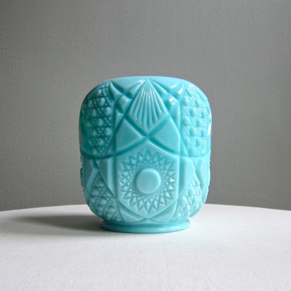 SPECIAL PRICE - Vintage Turquoise Blue Milk Glass Vase - 1950s Large Vase