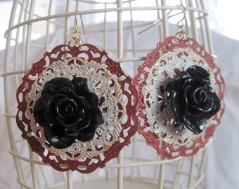 Red and White Painted Filigree earrings with black roses