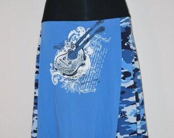 Recycled tee shirt skirt  medium with rayon waistband  M0017