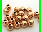 30x 4mm 14k ROSE  gold filled seamless shiny round bead spacers RB04