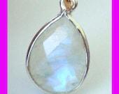 2pcs 16mm x 10mm Moonstone Teardrop sterling silver bezel gemstone charm dangle pendant