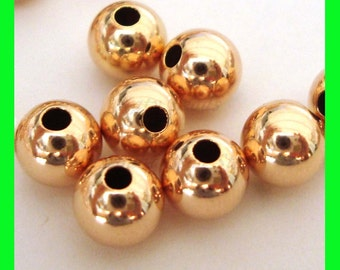 20pcs 5mm 14k ROSE  gold filled seamless shiny round bead spacers RB05