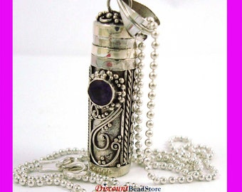 """Sterling silver Prayer Box with February Amethyst Birthstone and 18"""" bead chain necklace PR4"""