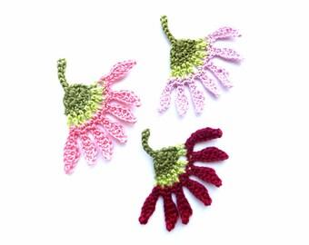 Crochet flower appliques - bright flower embellishments - handmade flowers applique - cotton flowers - purple flowers - set of 3
