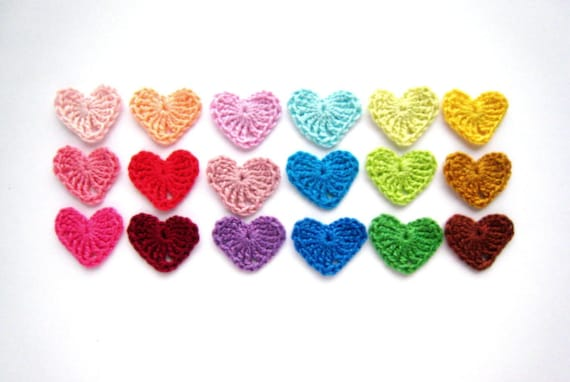 Crocheted hearts applique, colorful Valentines day embellishment, wedding decorations, favors in all rainbow colors /set of 18/