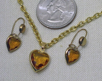 Amber  Faceted Glass Heart Pendant  and  Smaller Earrings  1960s  NEW OLD STOCK  cSc 343
