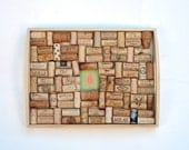 Wine Cork Board Repurposed from a Wooden Tray - Red Leaf