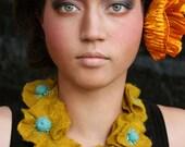 Hand Felted Artisan Necklace -- Golden Poppies -- En El Paraíso (In Paradise) Collection