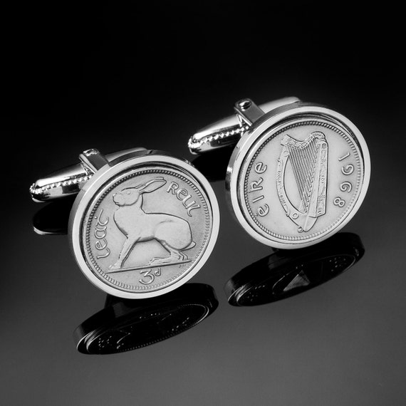 74th Birthday Gift - 1943 Old Irish Threepence coin Genuine 1943 coin Cufflinks - 100% satisfaction - 3 day shipping option