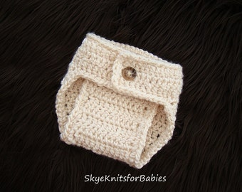 Crochet Diaper Cover to Match a crocheted Baby Hat, Baby Crochet Diaper Cover, Newborn Diaper Cover, Baby Photo Prop