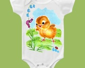 Yellow Chick, Baby Chick One Piece, Duckling T Shirt, Baby Duck Shirt Easter Spring Chick by ChiTownBoutique
