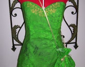 Adult Womens size Custom made Green Gold Embroidered Tinkerbell 2 4 6 8 10