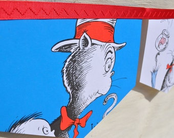THE CAT in the HAT Banner Bunting Children Paper Party New Baby Shower  Nursery  Bedroom Decoration Learning Education Tool Dr Seuss