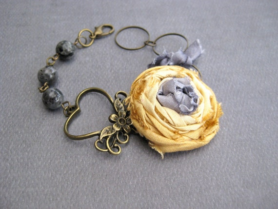 Joy and Sorrow - Yellow and gray floral bracelet with gray beads and antique brass...romantic, bohemian, shabby chic, OOAK