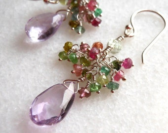 Amethyst Tourmaline Cluster Earrings Wire Wrapped Sterling Silver
