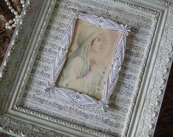 Our Lady of Mental Peace, wall art, assemblage, creamy white, antiqued, OOAK