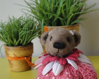 Bear pincushion - pink with flowers