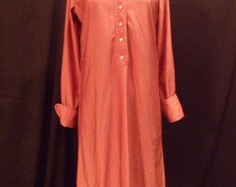 Coral Shirt Dress Long Sleeve With Cuff By Tee-Ca New York