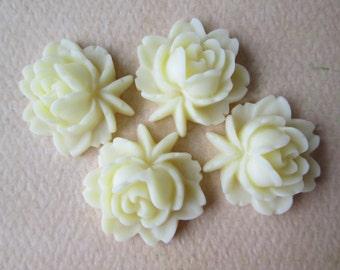 4PCS - Rose Flower Cabochons - Resin - Vanilla - 17x18mm Cabochons by ZARDENIA