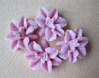 Lily Flower Cabochons, Pink Lily Cabochons, Resin Flower Cabochons, 14x16mm, 4 pieces, Jewelry Supplies, Diy Crafts, Zardenia