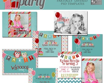 Time To Party Card Collection- Set of 4 5x7 Birthday Invitations- Photo Templates