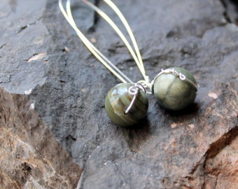 green agate earrings /  sterling silver long wire wrapped marbled earrings / FREE domestic SHIPPING / earthy round gemstones