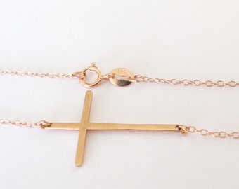 Quality Rose Gold sideways cross necklace, , Kelly Ripa Long Skinny Sideways Cross Necklace in pink gold