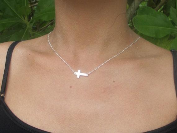 Sterling Silver Sideways Cross Necklace, celebrity inspired