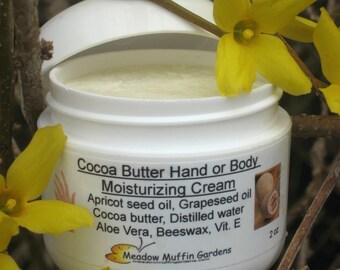 Cocoa Butter Hand, Body Moisturizing Cream, Jar, Organic Skin Care, Chapped Hands, Children