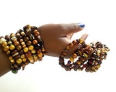 Tribal inspired wood and stone bracelet stack- The Nzinga (large stack)