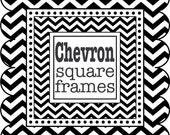 Square Frames in Chevron - digital clip art - Black and White