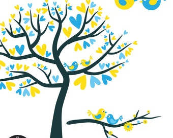 Love Birds in Bright Blue and Yellow - Digital Clip Art