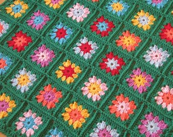 Flowers in Squares Crochet Afghan Blanket Made to Order
